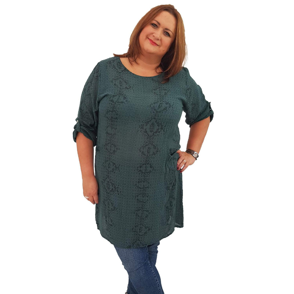 Top Tunic Snake Green Lagenlook Plus Size [L483_GREEN] - size 16 18 20 22 24 26 28 30 32 34 36 38 40 42 Wolfairy