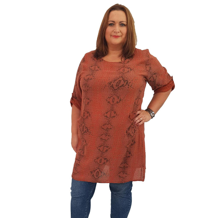 Top Tunic Snake Rust Lagenlook Plus Size [L483_RUST] - size 16 18 20 22 24 26 28 30 32 34 36 38 40 42 Wolfairy