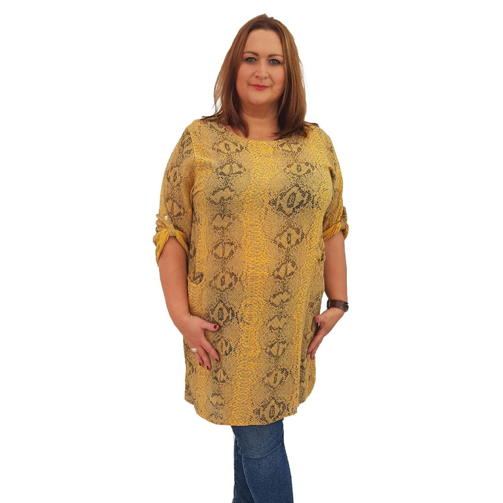Top Tunic Snake Yellow Lagenlook Plus Size [L483_YELLOW] - size 16 18 20 22 24 26 28 30 32 34 36 38 40 42 Wolfairy
