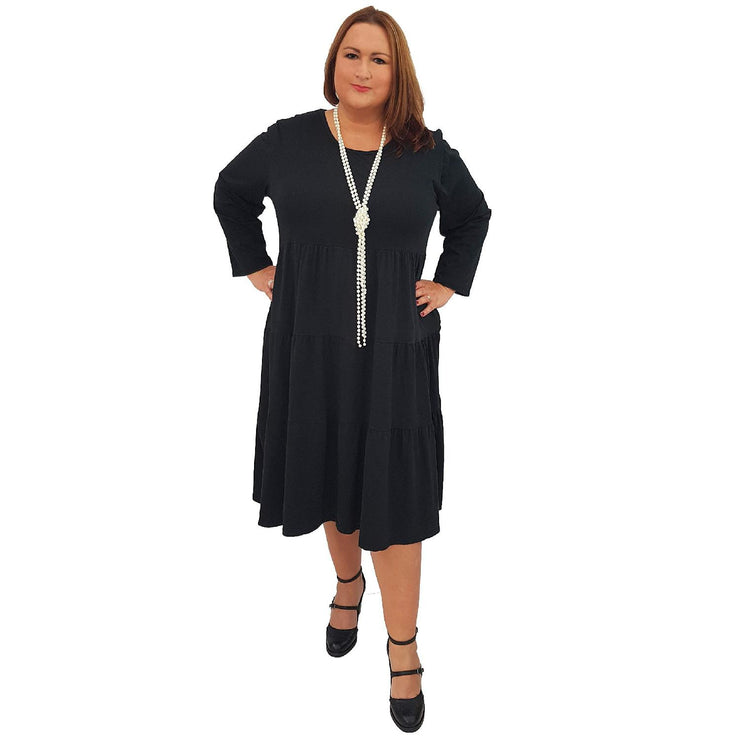 Dress Loose Baggy Long Sleeve Black Lagenlook Plus Size [L484_BLACK] - size 16 18 20 22 24 26 28 30 32 34 36 38 40 42 Wolfairy