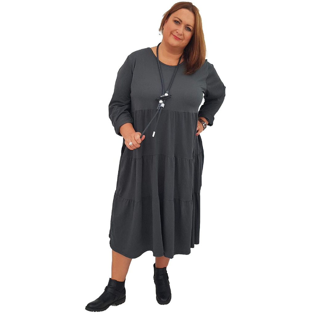 Dress Loose Baggy Long Sleeve Graphite Lagenlook Plus Size [L484_GRAPHITE] - size 16 18 20 22 24 26 28 30 32 34 36 38 40 42 Wolfairy