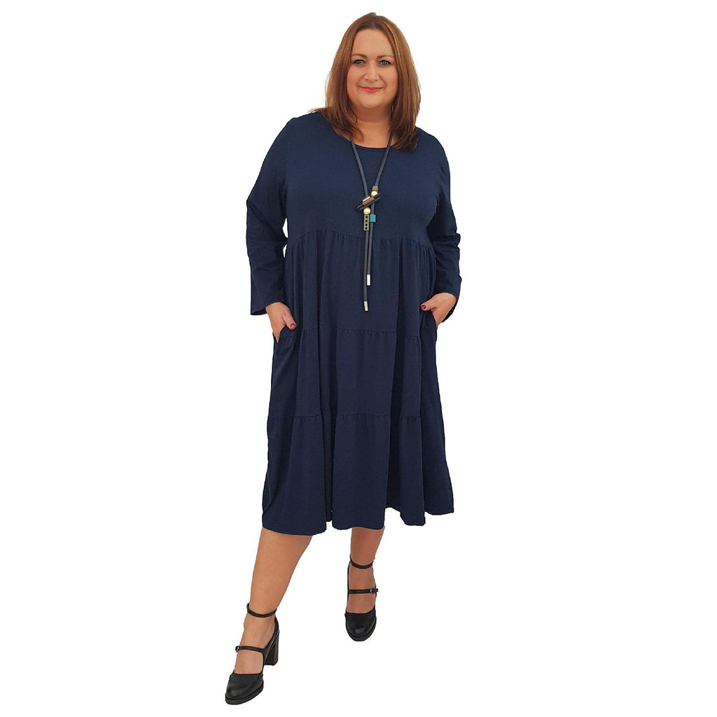 Dress Loose Baggy Long Sleeve Navy Lagenlook Plus Size [L484_NAVY] - size 16 18 20 22 24 26 28 30 32 34 36 38 40 42 Wolfairy