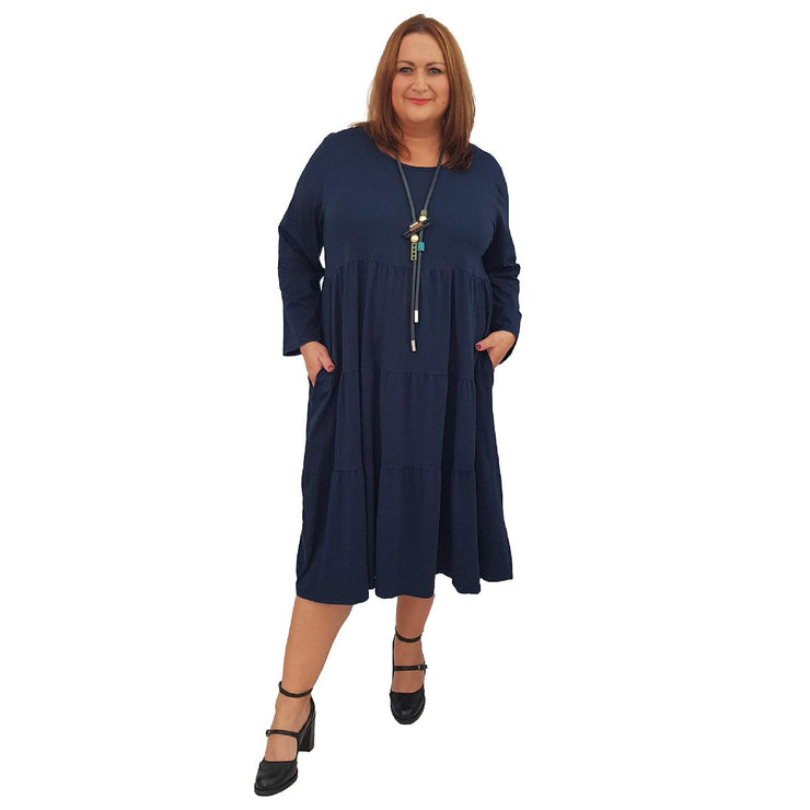 Dress Loose Baggy Long Sleeve Navy Lagenlook Plus Size [L484_NAVY] dress Wolfairy