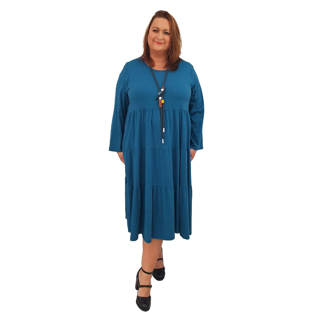 Dress Loose Baggy Long Sleeve Turquoise Lagenlook Plus Size [L484_TURQUOISE] - size 16 18 20 22 24 26 28 30 32 34 36 38 40 42 Wolfairy