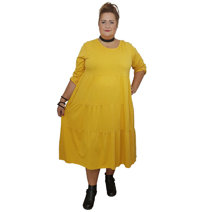 Dress Loose Baggy Long Sleeve Yellow Lagenlook Plus Size [L484_YELLOW] dress Wolfairy