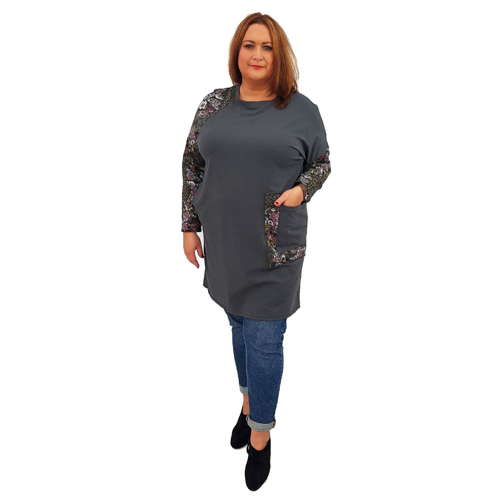 Top Tunic Floral Graphite Lagenlook Plus Size [L485_GRAPHITE] - size 16 18 20 22 24 26 28 30 32 34 36 38 40 42 Wolfairy