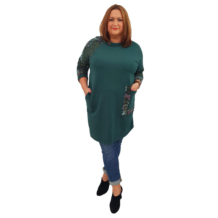 Top Tunic Floral Green Lagenlook Plus Size [L485_GREEN] top Wolfairy