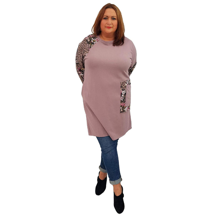 Top Tunic Floral Pink Lagenlook Plus Size [L485_PINK] top Wolfairy