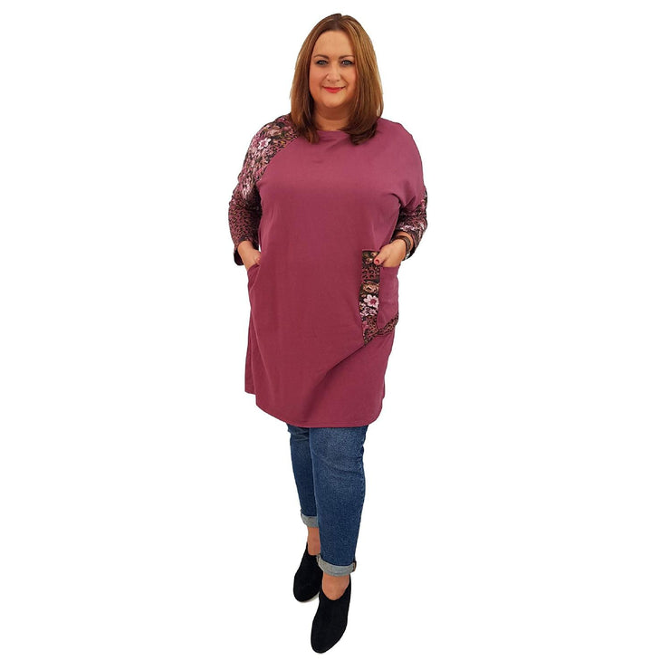 Top Tunic Floral Wine Lagenlook Plus Size [L485_WINE] - size 16 18 20 22 24 26 28 30 32 34 36 38 40 42 Wolfairy