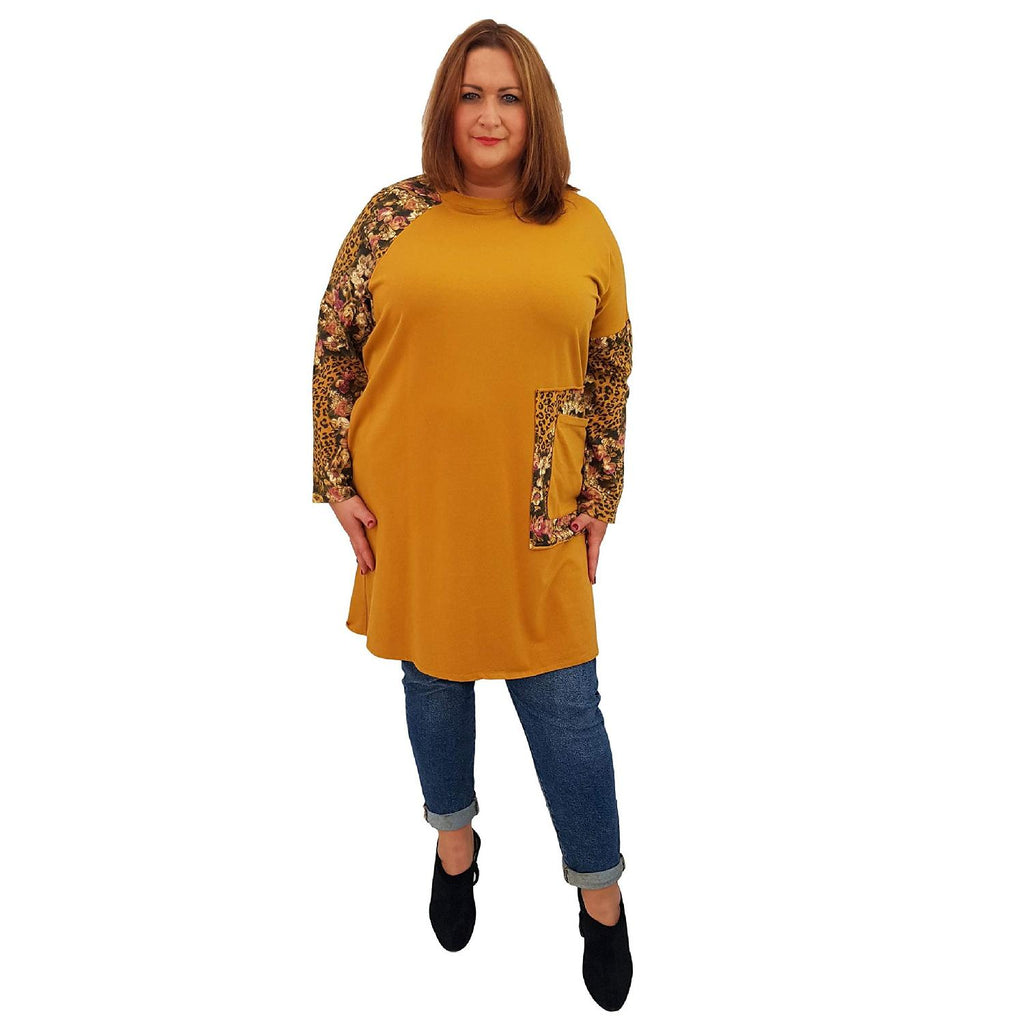 Top Tunic Floral Yellow Lagenlook Plus Size [L485_YELLOW] - size 16 18 20 22 24 26 28 30 32 34 36 38 40 42 Wolfairy