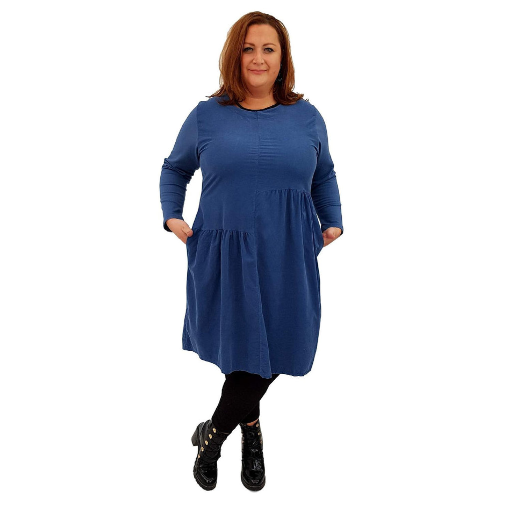 Dress Loose Corduroy Blue Lagenlook Plus Size [L487_BLUE] - size 16 18 20 22 24 26 28 30 32 34 36 38 40 42 Wolfairy