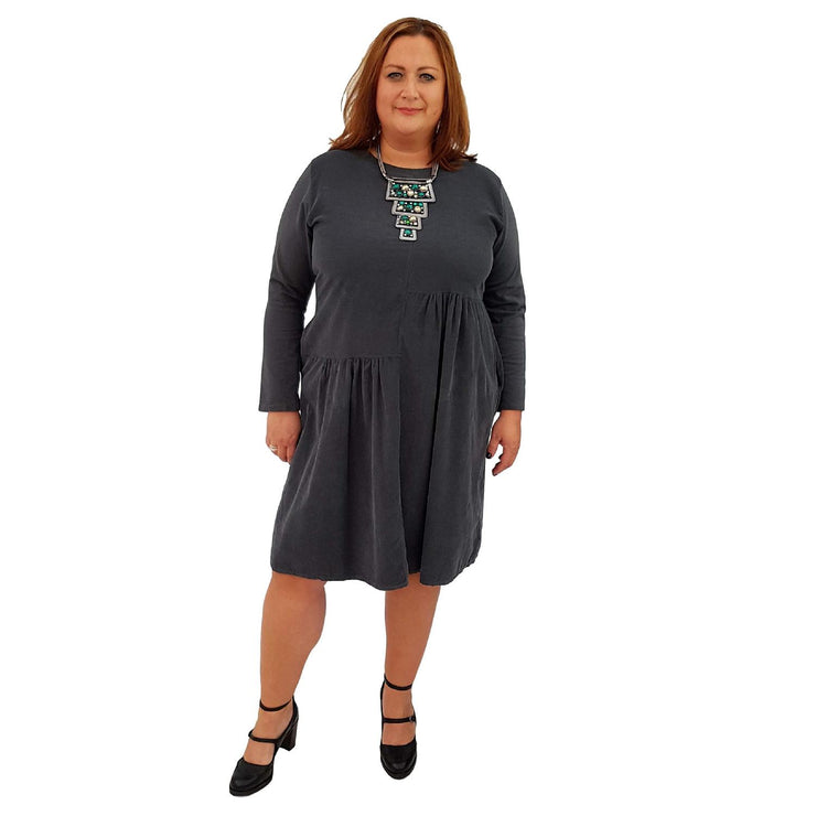 Dress Loose Corduroy Graphite Lagenlook Plus Size [L487_GRAPHITE] - size 16 18 20 22 24 26 28 30 32 34 36 38 40 42 Wolfairy
