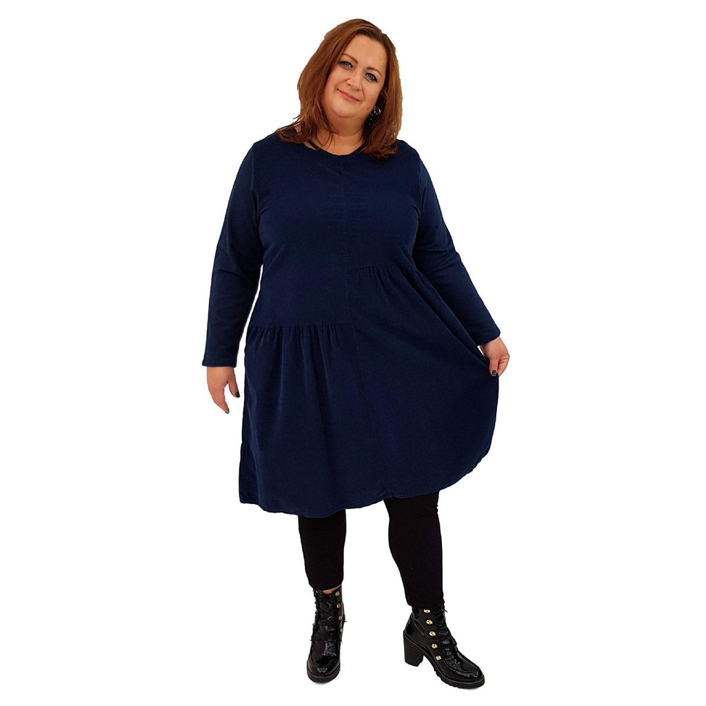 Dress Loose Corduroy Navy Lagenlook Plus Size [L487_NAVY] - size 16 18 20 22 24 26 28 30 32 34 36 38 40 42 Wolfairy