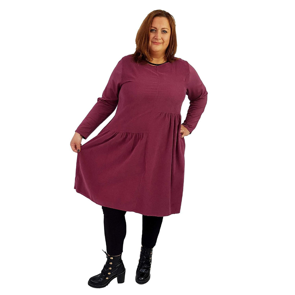 Dress Loose Corduroy Wine Lagenlook Plus Size [L487_WINE] - size 16 18 20 22 24 26 28 30 32 34 36 38 40 42 Wolfairy