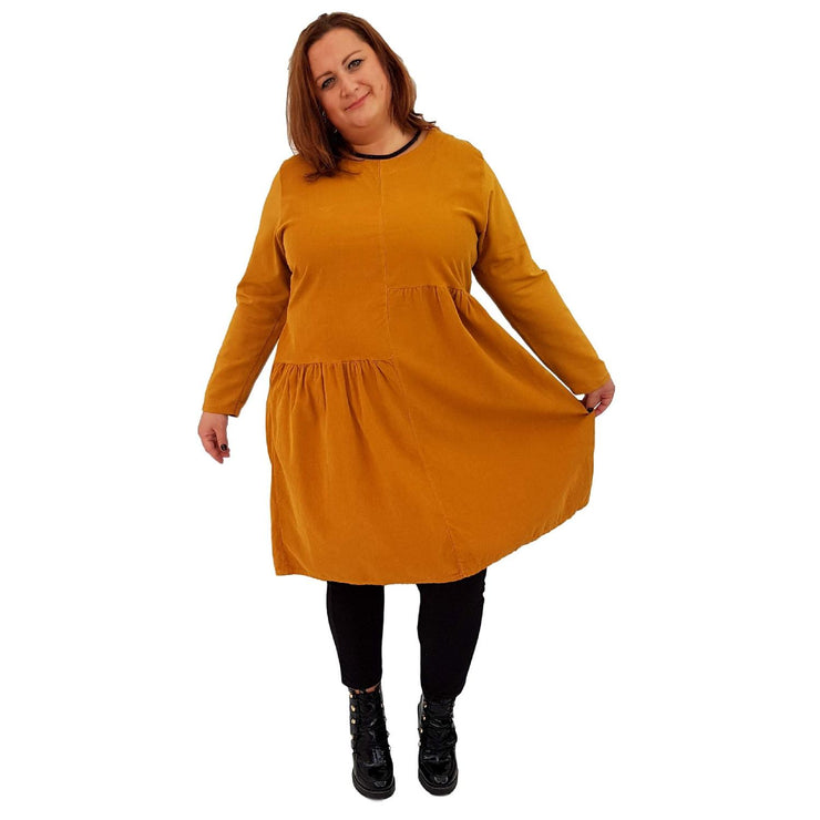 Dress Loose Corduroy Yellow Lagenlook Plus Size [L487_YELLOW] - size 16 18 20 22 24 26 28 30 32 34 36 38 40 42 Wolfairy