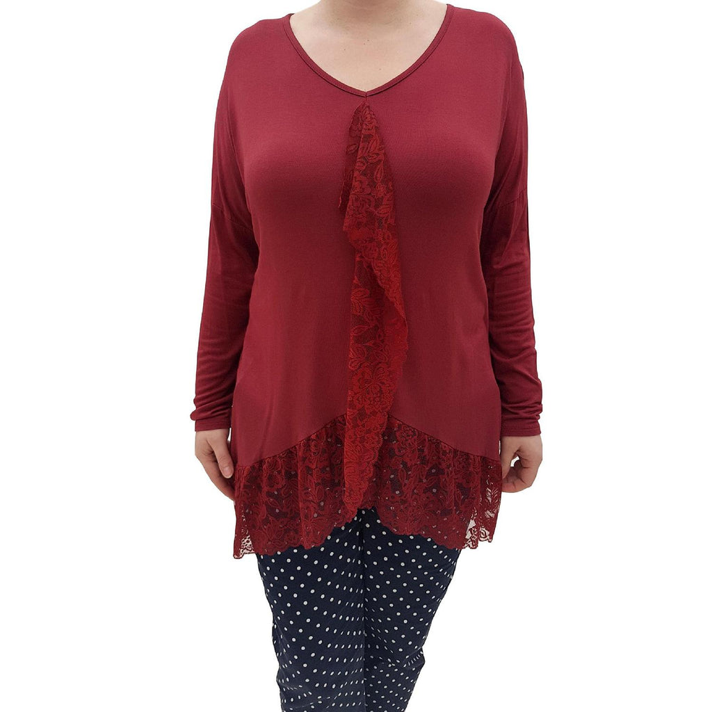 Sweat Top Hem Wine Plus Size [L58_WINE] - size 16 18 20 22 24 26 28 30 32 34 36 38 40 42 Wolfairy