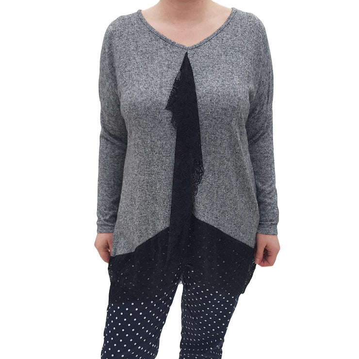 Jumper Top Hem Graphite2 Plus Size [L59_GRAPHITE2] top Wolfairy