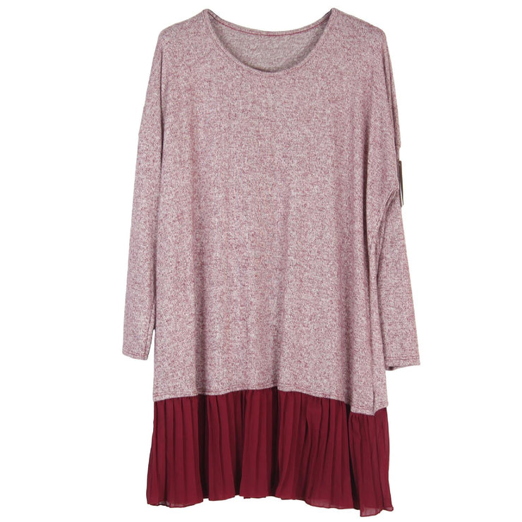 Dress Jumper Top Pleated Wine Plus Size [L61_WINE] top Wolfairy