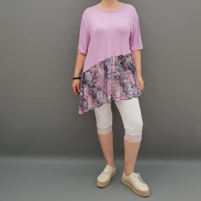 Summer Top with Chiffon Frill Loose Baggy Short Sleeve Beach Holiday Airy Lagenlook Plus Size  [L1074_LAVENDER]