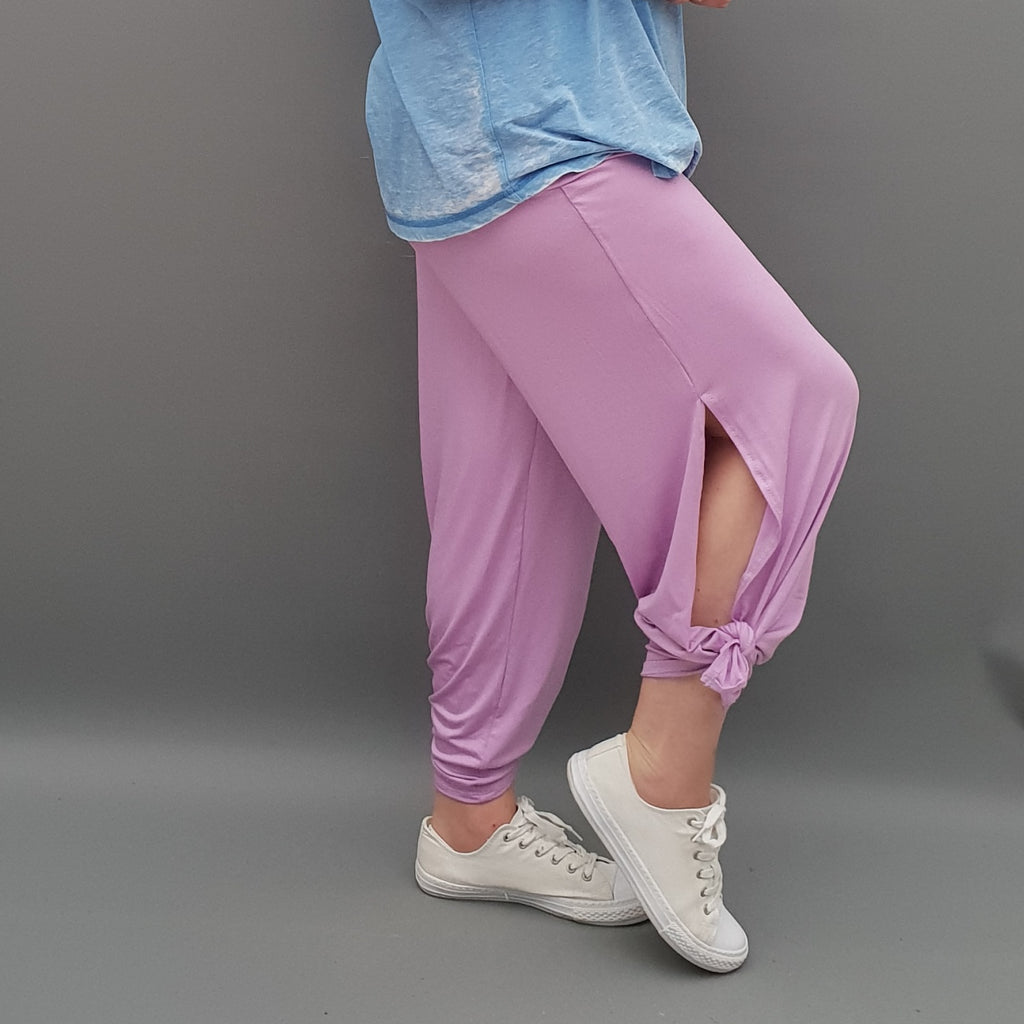 Plus Size Wide Leg Trousers With Slits Loose Pants For Summer  [L1069_LAVENDER]