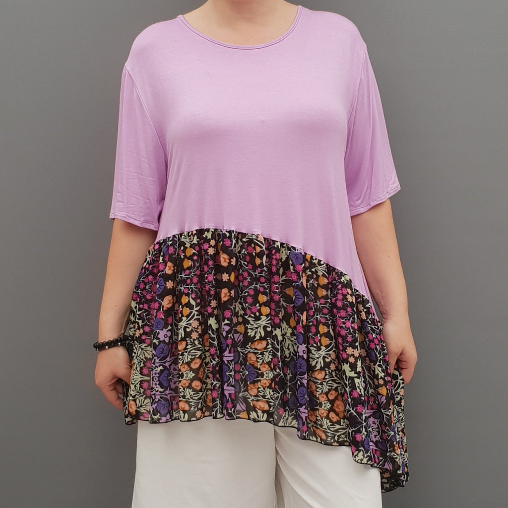 Summer Top with Chiffon Frill Loose Baggy Short Sleeve Beach Holiday Airy Lagenlook Plus Size [L1074_LAVENDER2] - size 16 18 20 22 24 26 28 30 32 34 36 38 40 42 Wolfairy