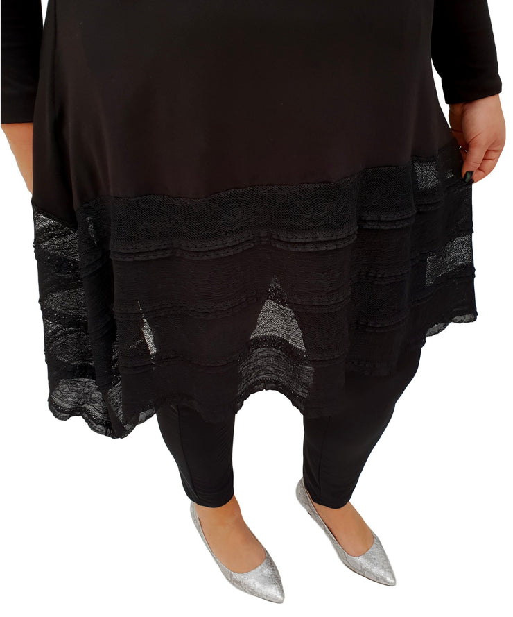 Tunic 3/4 Sleeve Swingy Sidetail Hem Lace Frill Stretchy Jersey Lagenlook Plus Size [L1020_BLACK] top Wolfairy