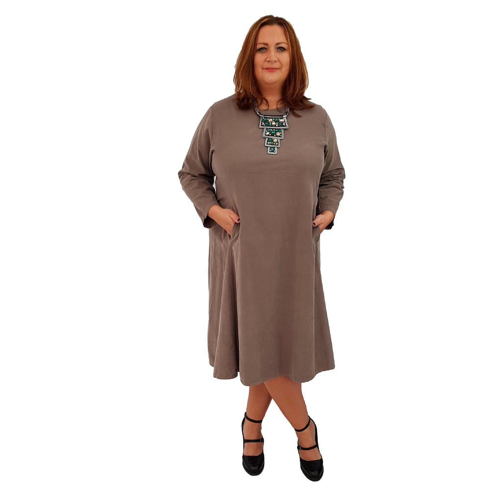 Dress Loose Corduroy Long Sleeve Lagenlook Plus Size [L460_MOCCA] - size 16 18 20 22 24 26 28 30 32 34 36 38 40 42 Wolfairy