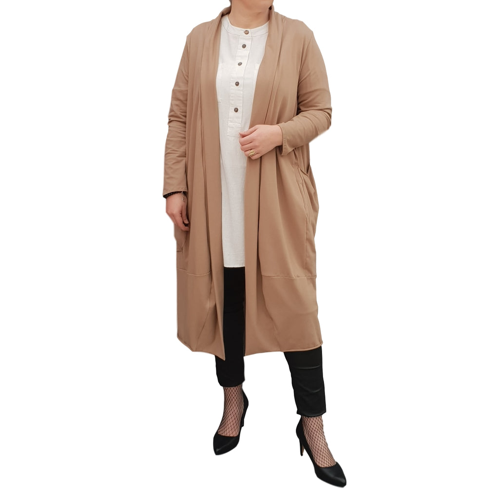 Women's Plus Size Long Cardigan Coat with Pockets [L1129_MOCCA]