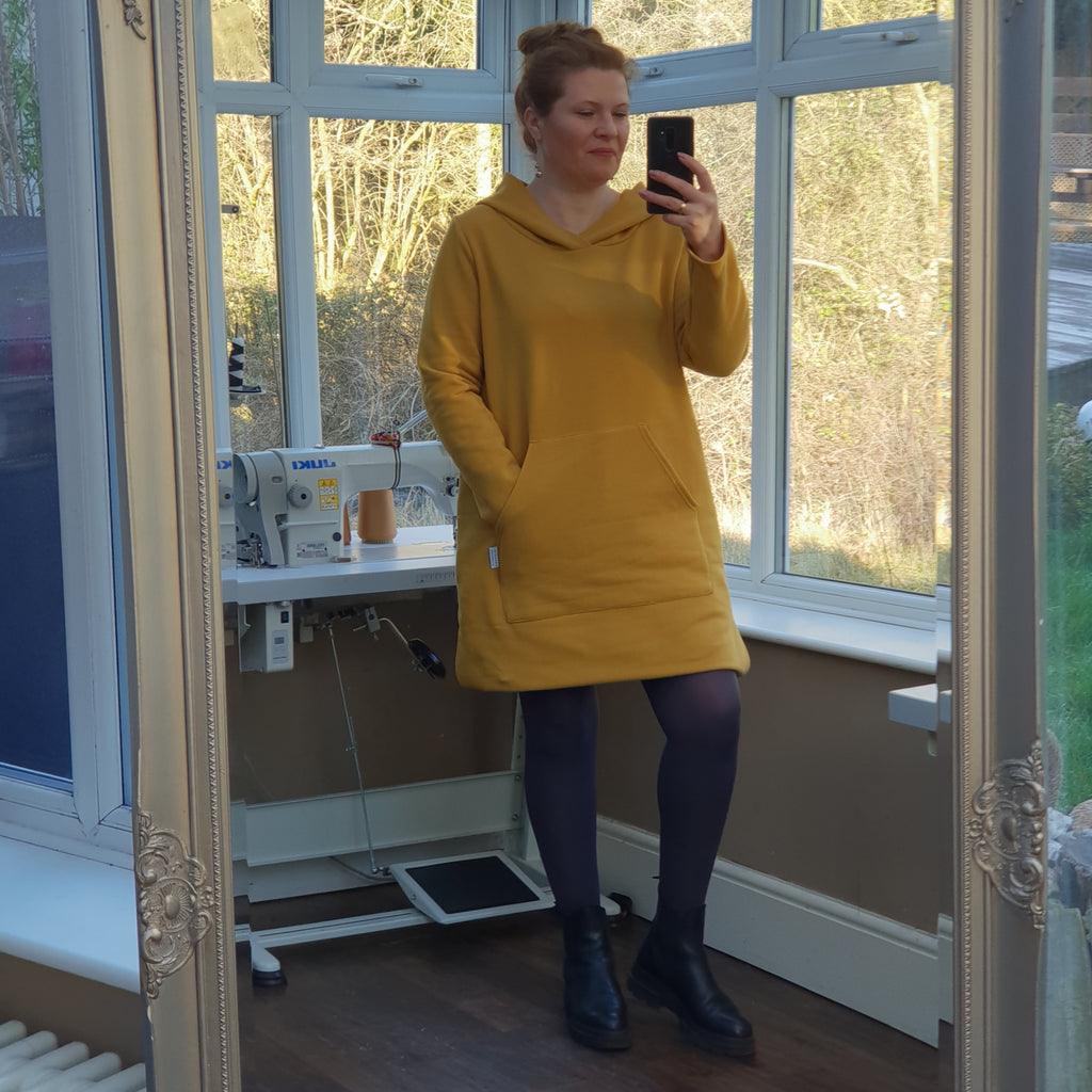 Plus Size Fleeced Cotton Sweatshirt Hoodie Longer Top Long Sleeve [L1226_MUSTARD]