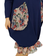 Asymmetric Dress Loose Chiffon Pockets And Frill Long Sleeve Lagenlook Plus Size [L1045_NAVY] dress Wolfairy