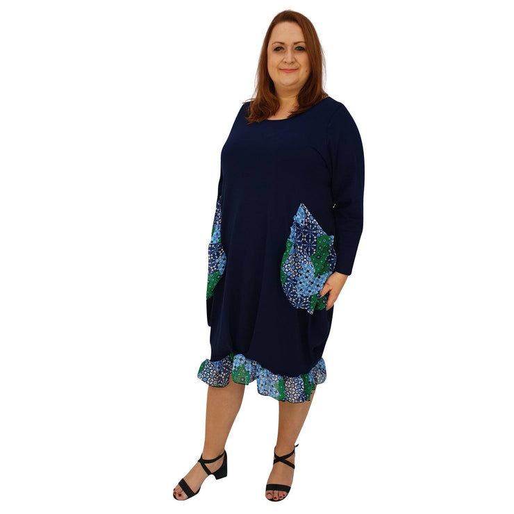 Asymmetric Dress Loose Chiffon Pockets And Frill Long Sleeve Lagenlook Plus Size [L1045_NAVY2] dress Wolfairy