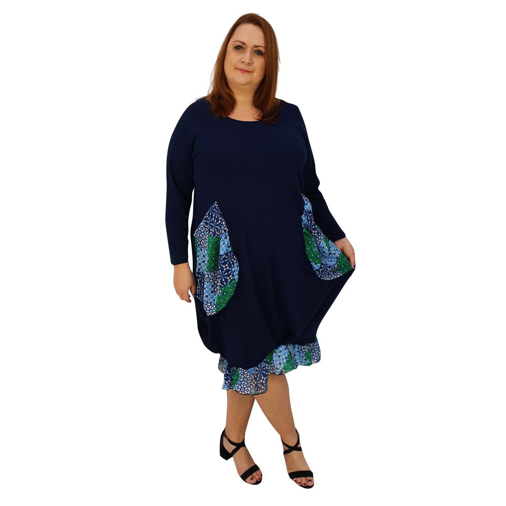 Asymmetric Dress Loose Chiffon Pockets And Frill Long Sleeve Lagenlook Plus Size [L1045_NAVY2] - size 16 18 20 22 24 26 28 30 32 34 36 38 40 42 Wolfairy