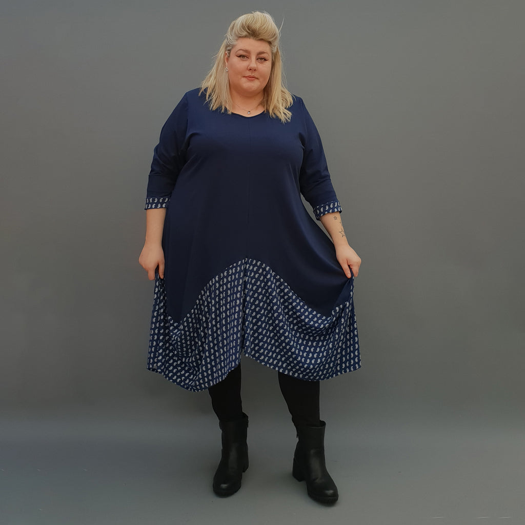 Plus Size Swing Jersey Long Top Dress Asymmetric Embellished Hem [L1118_NAVY2] - size 16 18 20 22 24 26 28 30 32 34 36 38 40 42 Wolfairy
