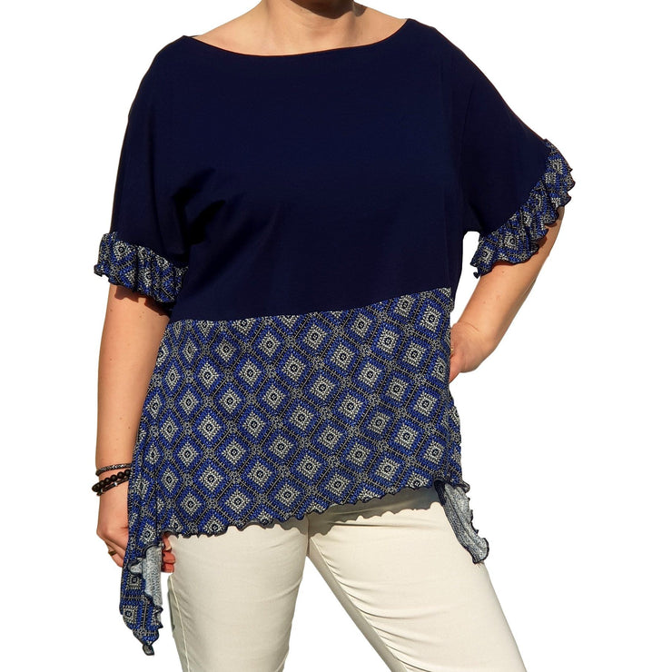 Top  Frill Loose Baggy Short Sleeve Beach Holiday Airy Lagenlook Plus Size [L1057_NAVY2] - size 16 18 20 22 24 26 28 30 32 34 36 38 40 42 Wolfairy