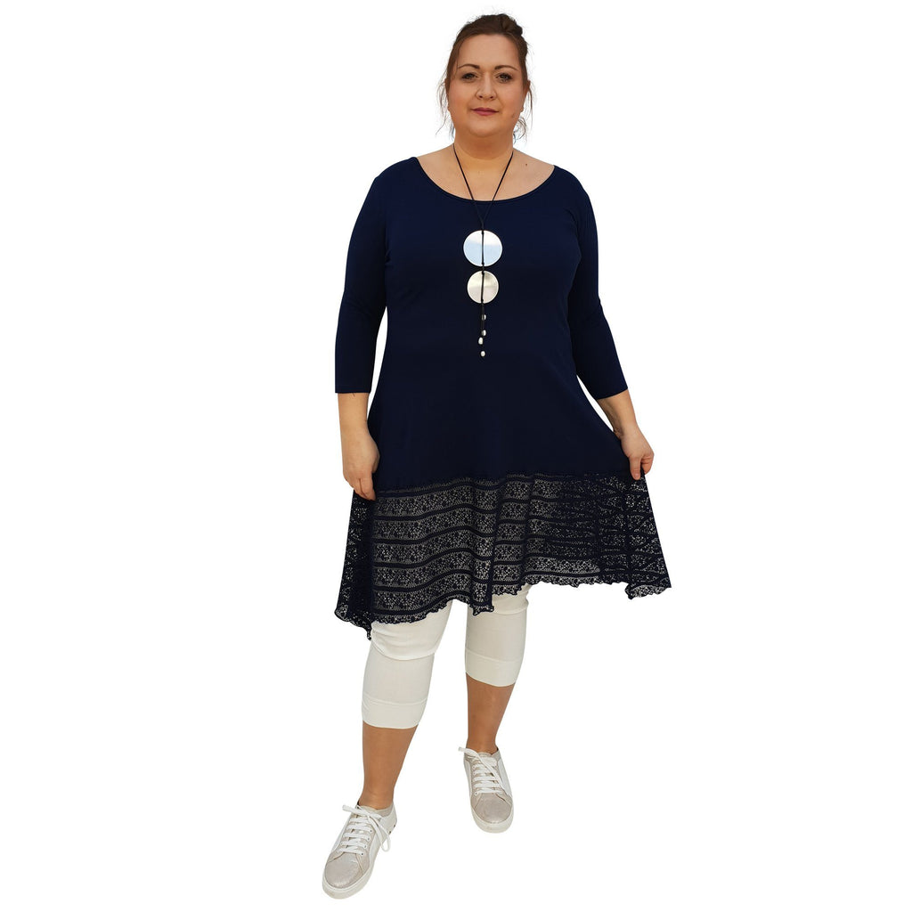 Tunic 3/4 Sleeve Swingy Sidetail Hem Lace Frill Stretchy Jersey Lagenlook Plus Size [L1020_NAVY2] - size 16 18 20 22 24 26 28 30 32 34 36 38 40 42 Wolfairy