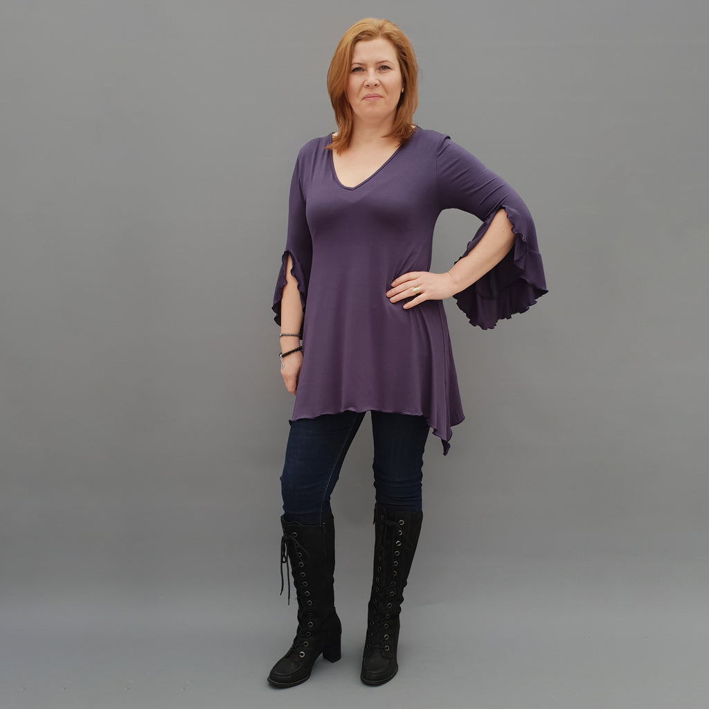 Wolfairy Plus Size V-neck Ruffle Top Tunic [L1124_NAVY]