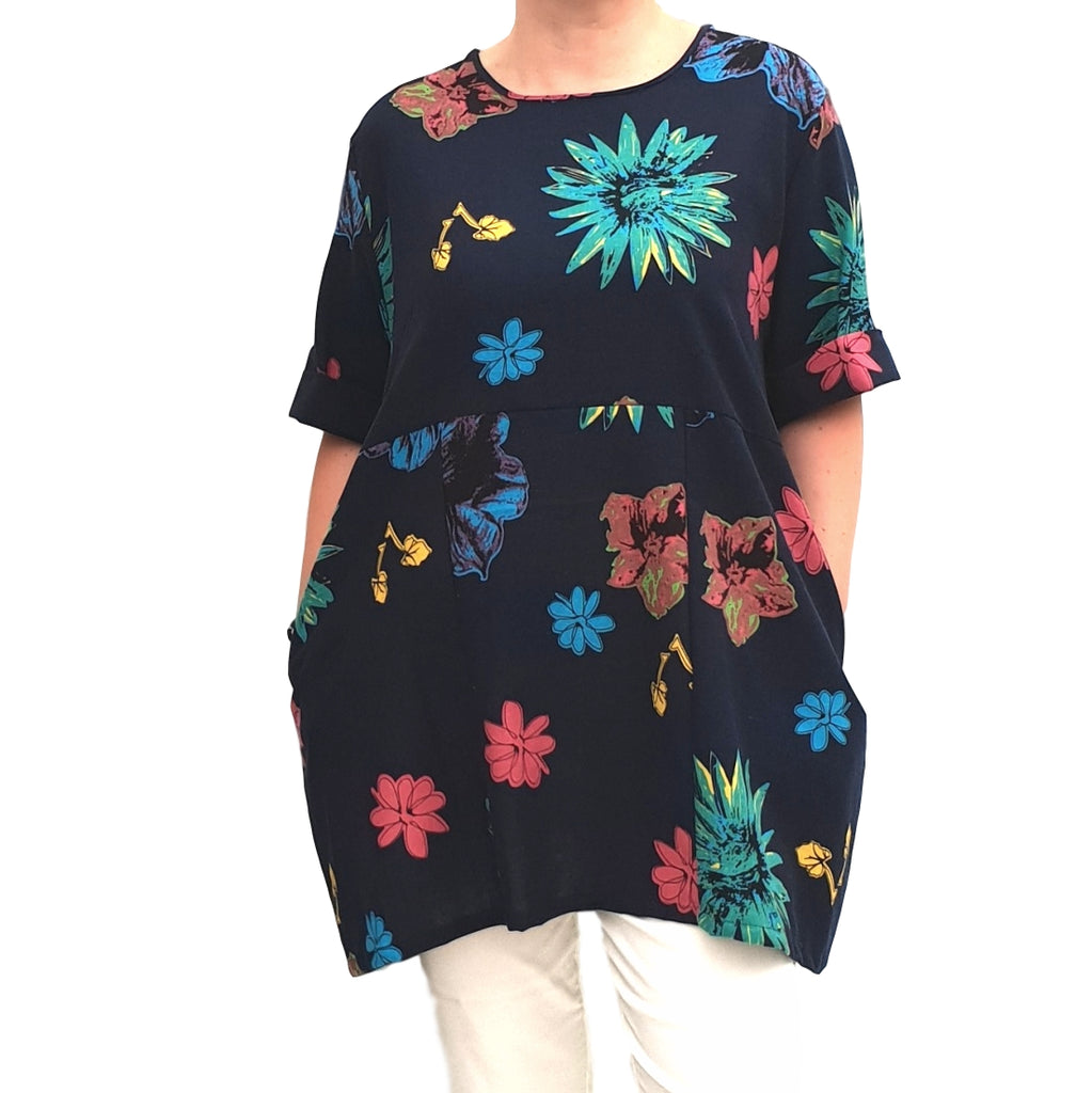 Linen Tunic Summer Top Loose Lagenlook Blouse Short Sleeve Plus Size [L1064_NAVY] - size 16 18 20 22 24 26 28 30 32 34 36 38 40 42 Wolfairy