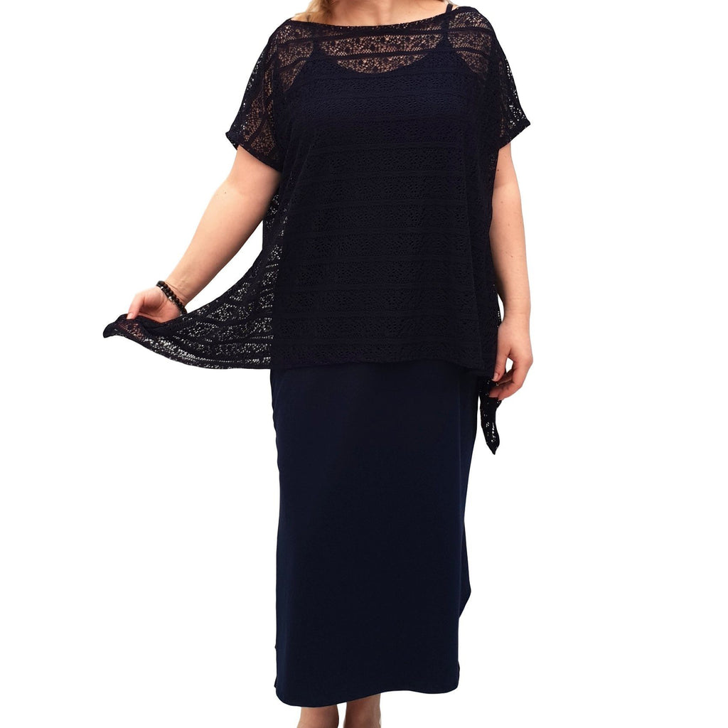 Semi-fitted Bodycon Jersey Maxi Dress With Lace Top - 2 Pieces Set Lagenlook Plus Size [L1053_NAVY] - size 16 18 20 22 24 26 28 30 32 34 36 38 40 42 Wolfairy