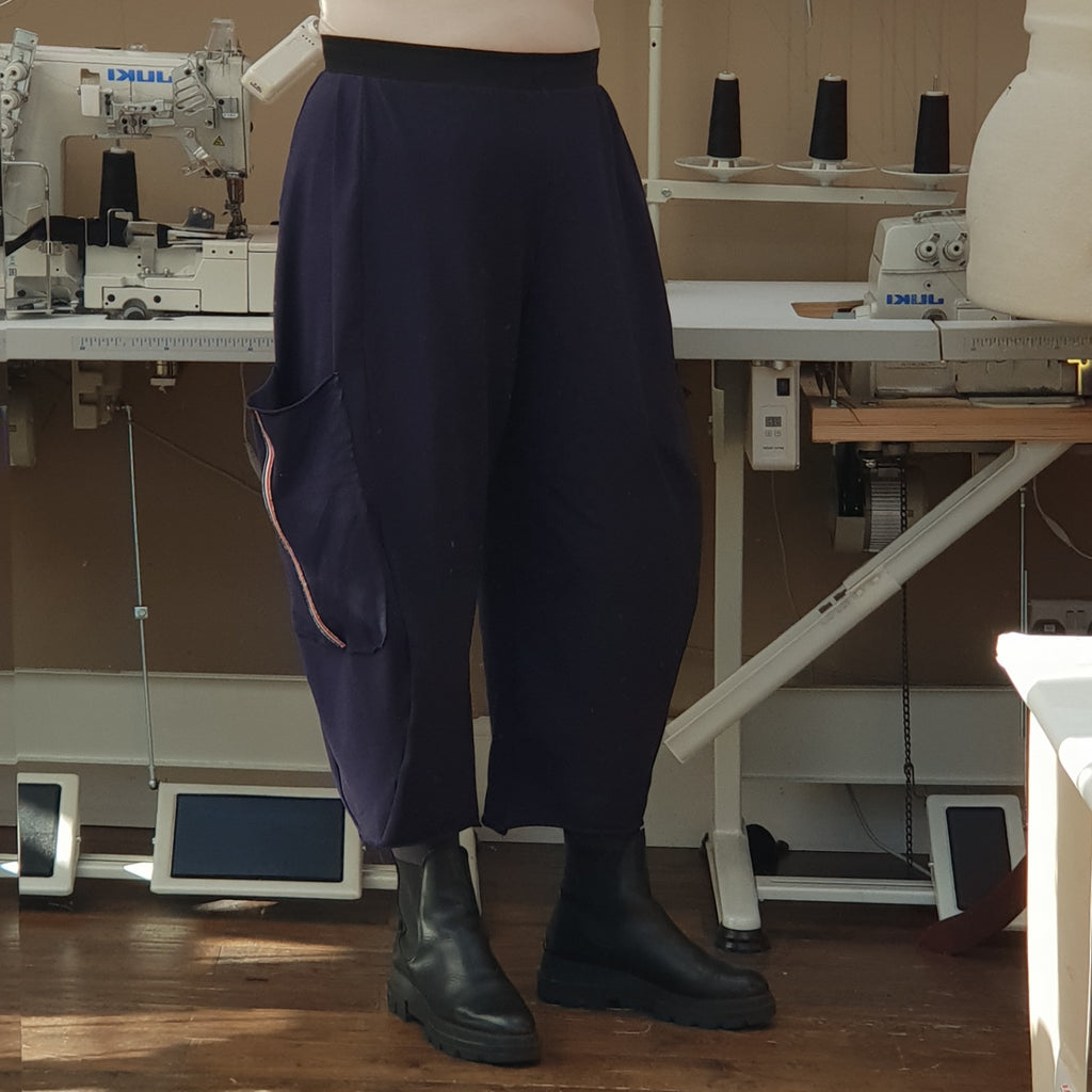 Plus Size Cotton Jersey Baggy Wide Trousers with Tape [L1230_NAVY]