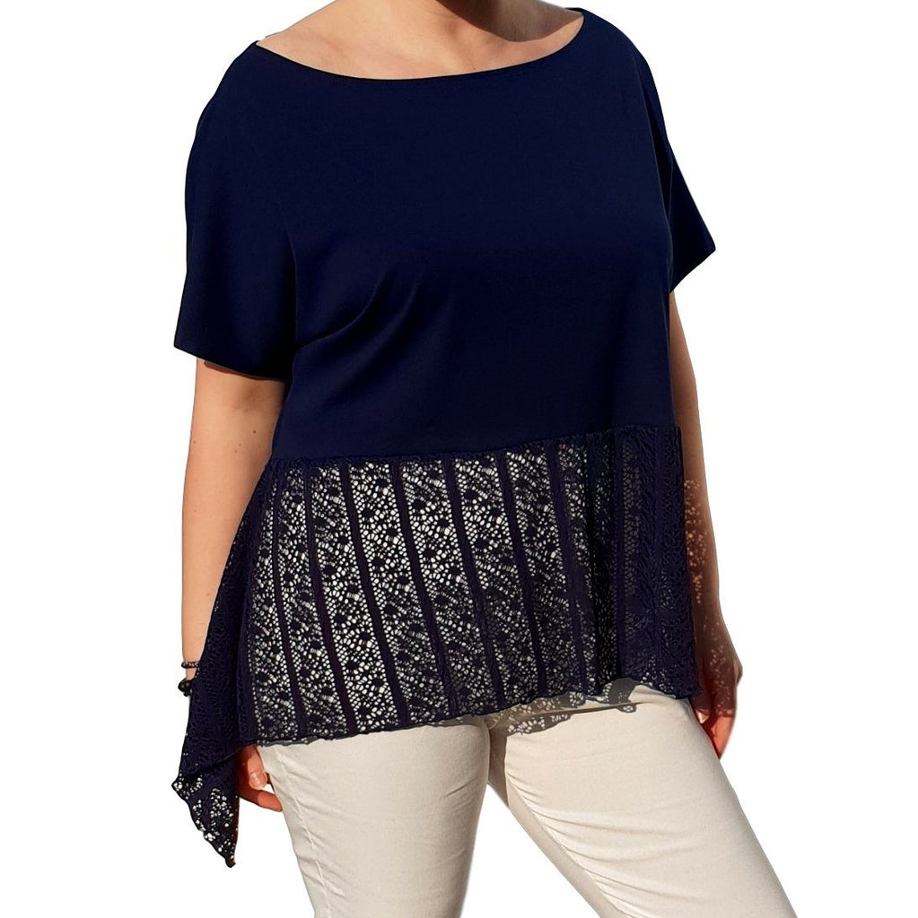 Lace Top  Frill Loose Baggy Short Sleeve Beach Holiday Airy Lagenlook Plus Size [L1057_NAVY] - size 16 18 20 22 24 26 28 30 32 34 36 38 40 42 Wolfairy