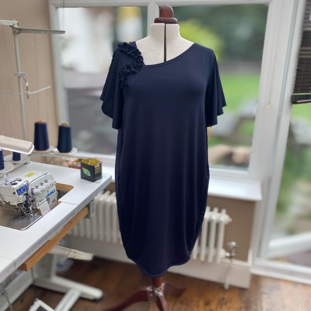 Plus Size Smart Jersey Dress Baggy Style Angel Sleeve [L1158_NAVY]