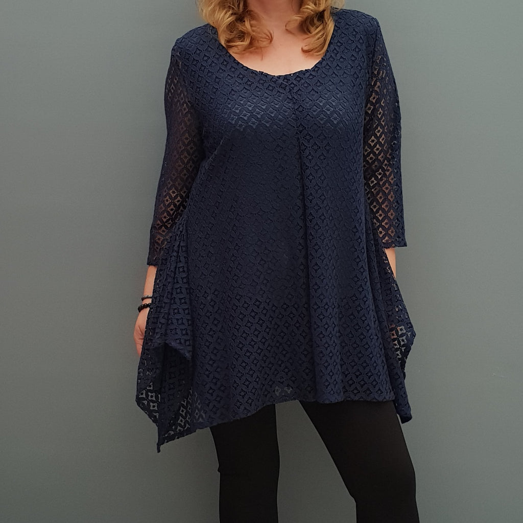 Plus size handkerchief crochet lace top blouse with lining [L1088_NAVY] - size 16 18 20 22 24 26 28 30 32 34 36 38 40 42 Wolfairy