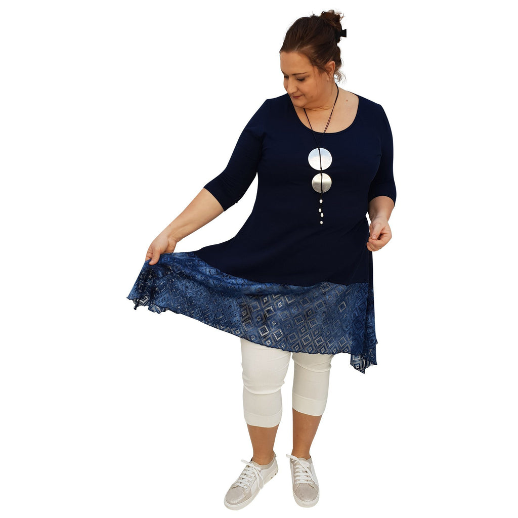 Tunic 3/4 Sleeve Swingy Sidetail Hem Lace Frill Stretchy Jersey Lagenlook Plus Size [L1020_NAVY] - size 16 18 20 22 24 26 28 30 32 34 36 38 40 42 Wolfairy