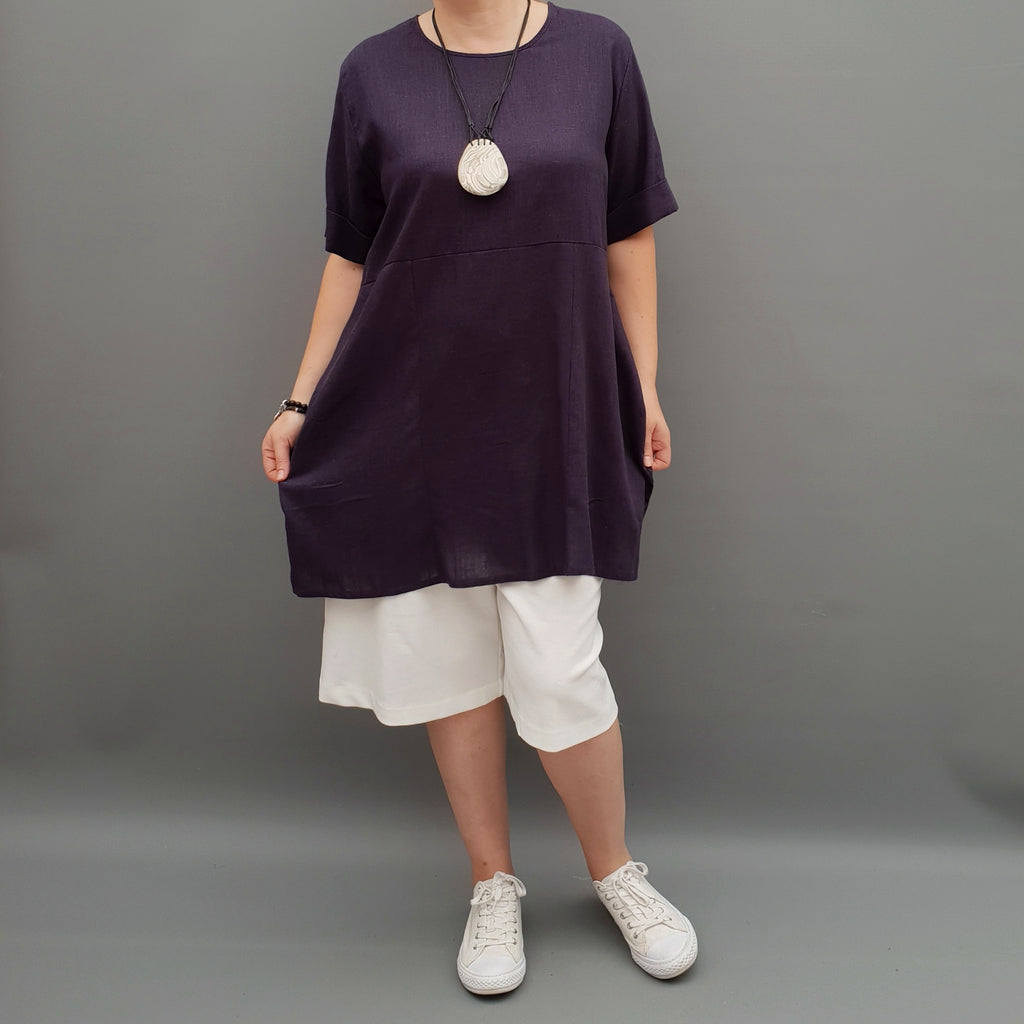 Linen Tunic Summer Top Loose Lagenlook Blouse Short Sleeve Plus Size [L1064_NAVY3] - size 16 18 20 22 24 26 28 30 32 34 36 38 40 42 Wolfairy