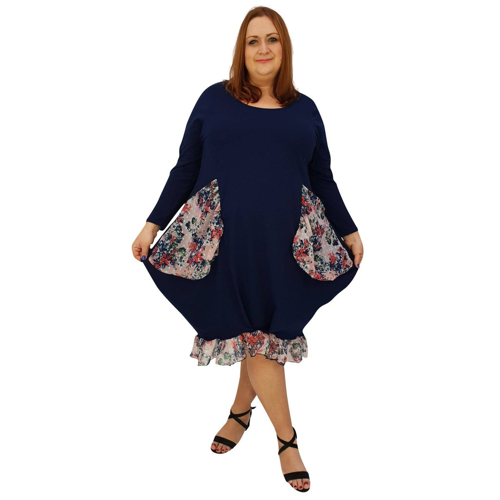 Asymmetric Dress Loose Chiffon Pockets And Frill Long Sleeve Lagenlook Plus Size [L1045_NAVY] - size 16 18 20 22 24 26 28 30 32 34 36 38 40 42 Wolfairy