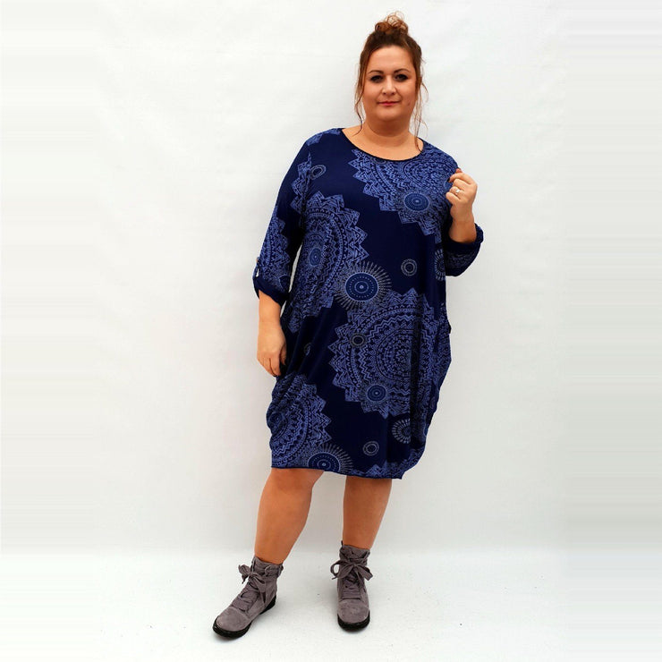 Dress Boho Aztec Jersey Long Sleeve Pockets Lagenlook Plus Size [L1040_NAVY] dress Wolfairy