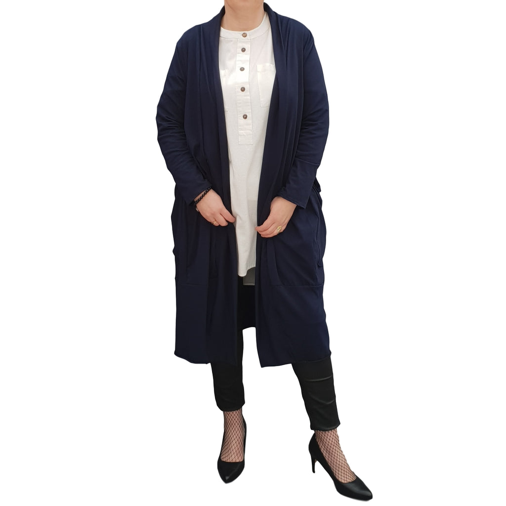 Women's Plus Size Long Cardigan Coat with Pockets [L1129_NAVY]