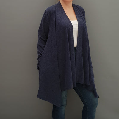 Womens plus size cardigan long sleeves open front handkerchief hem angora [L1086_NAVY] - size 16 18 20 22 24 26 28 30 32 34 36 38 40 42 Wolfairy