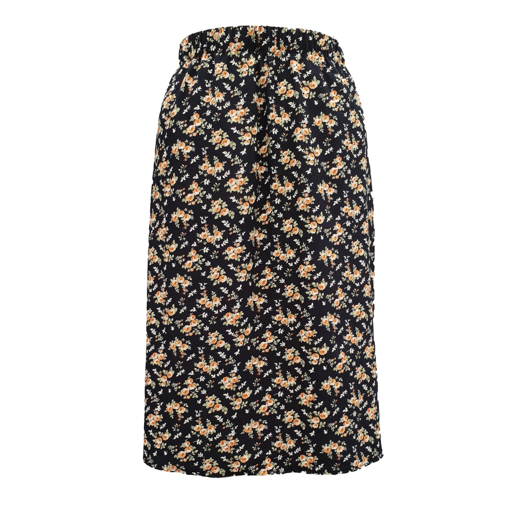 Plus Size Long Floral MAXI Skirt With Elasticated Waistband - length 36,5'' (93 cm) [L1134_NAVY]