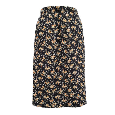 Plus Size Floral CALF LENGTH  Skirt With Elasticated Waistband - length 33,5'' (85 cm) [L1135_NAVY]